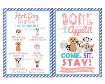 Puppy Party Printables - Food Cards - Adoption Certificates - DIGITAL FILES ONLY