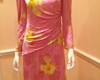 vintage Mollie Parnis pink silk dress floral print small medium