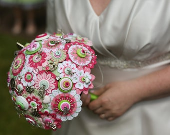 Handcrafted felt, button and charm wedding bouquet -  for bespoke creation