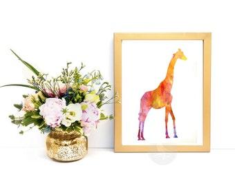 Giraffe Art Print, Watercolor Giraffe, Printable Giraffe Artwork - Digital Giraffe Art print, Watercolor Giraffe download, Print from home