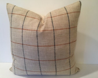 Navy & Rust Plaid Designer Pillow