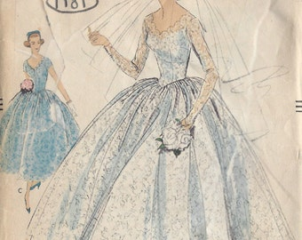 1957 Vintage VOGUE Sewing Pattern B36 BRIDAL GOWN & Bridesmaid Dress (1181) Vogue 9084