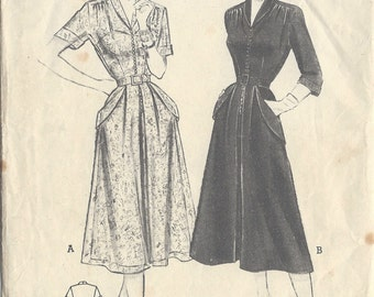 1950s Vintage Sewing Pattern B34 DRESS (R672) Butterick 5743