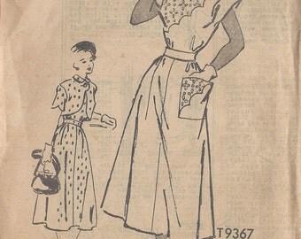 "1950s Vintage Sewing Pattern B34"" DRESS & BOLERO (R51) By Marian Martin T9367"