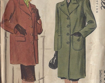 "1945 Vintage Sewing Pattern B30"" COAT (100) McCall 6180"