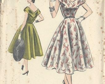 "1954 Vintage VOGUE Sewing Pattern B32"" ONE-PIECE Dress (R229)  Vogue S-4501"