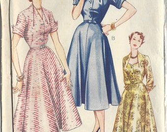"1950s Vintage Sewing Pattern DRESS B36"" (208)"
