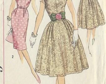 "1950s Vintage Sewing Pattern B36"" DRESS (R344) Simplicity 3045"