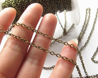 Thin Cable Chain Antique Brass Oval Link Chain Handmade Jewelry Finding 2.5x4mm