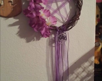 Purple Lace Pentagram Dream Catcher with Amethyst Tree of life Pendant