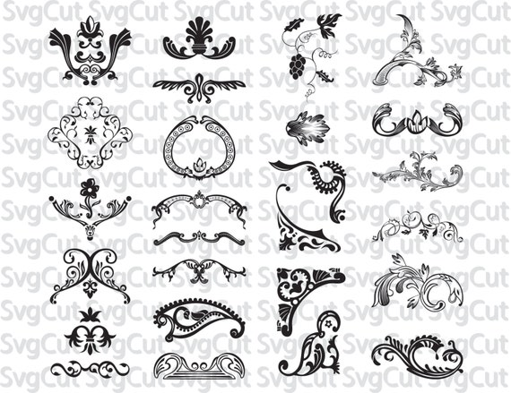 Svg Vintage Floral Scroll Files Used For Vinyl Cutting And