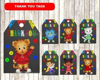 Daniel Tiger Chalkboard Thank you tags, printable Daniel Tiger party tags, Chalkboard Daniel Tiger thank you tags- Instant download