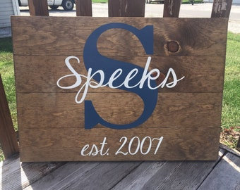 Large Last Name Established Sign | Anniversary Gift | Wedding Gift | Personalized | Wooden Sign | Custom |