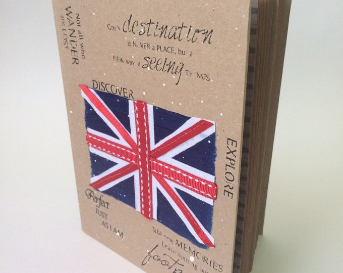 Sketckbook British style flag notebook London kraft Eco-friendly exclusive girl dairy handmade gift for her and him Great Britain