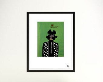 Illustration Basquiat, poster Basquiatl, portrait Basquiat, interior design, poster, print, pop art, artist's portrait, pop illustration