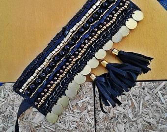 Gypsy bracelet, Boho bracelet, Bohemian handmade bracelet, Coin bracelet, Leather bracelet, Bead embroidery bracelet, Gold & Black bracelet