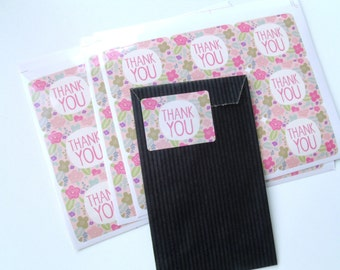 "9 4 cm * 3 cm stickers ""Thank You"" gift tags flowers"