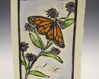 Monarch butterfly with asters linocut card