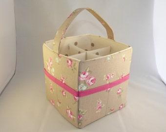 Beige Floral Craft Caddy