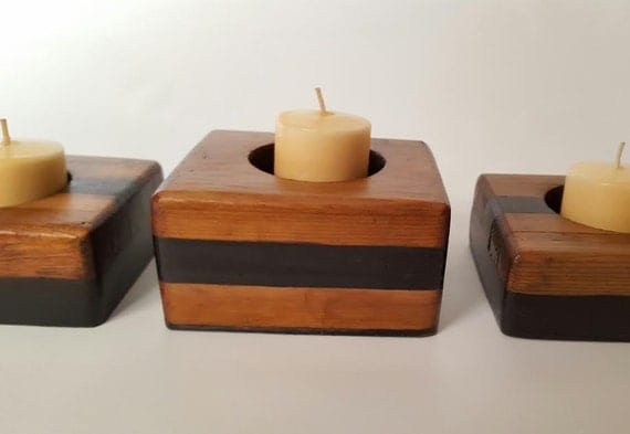 Votive Candle Holder/ Tealight Candle Holder/ Two Toned Candle Holder/ Candle Holder/ Wooden Candle Holder