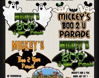 Mickeys Boo To You Parade Word Art - Scrapbooking Clip Art - Halloween Clip Art - Crafting Clip Art - Scrapbooking Supplies Instant Download