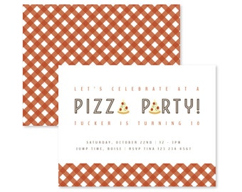 customizable pizza party invitation / pizza invitation / boy birthday invitation / first birthday / 1st birthday / boy invitation