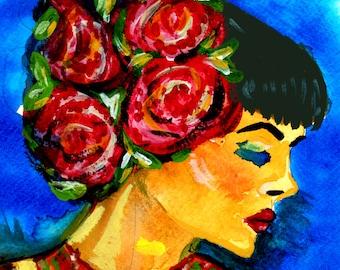 Beautiful vivid woman portrait 5x5 inches.Watercolor women portraits.