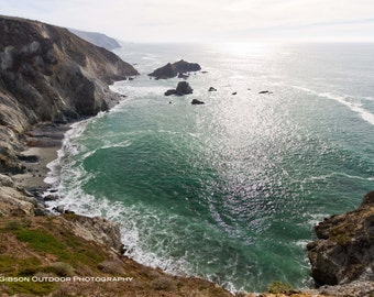 Large Landscape Photo, Wall Art, Rugged Pacific Coast Scene, Point Reyes Print, Ocean Cove Picture, Outdoor Decor, Green, Brown