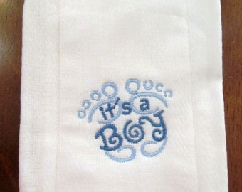It's A Boy embroidered burp cloth Personalized