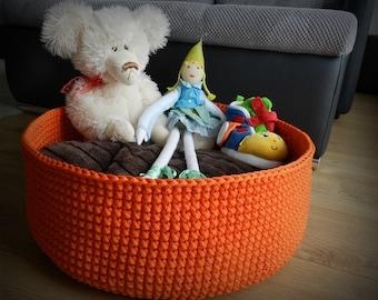 Large round basket / toy storage basket / toy storage bin / crochet basket / storage bag / kids room decals / orange decor / kids room decor