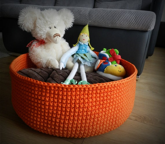 Large round basket / toy storage basket / toy storage bin / crochet basket / storage bag / kids room decals / orange decor / kids room decor