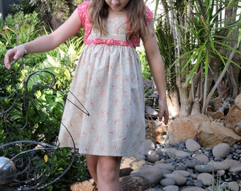 Girls vintage look floral sun dress with pink floral bolero.