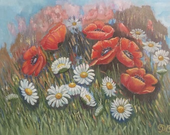 Daisies and poppies in field