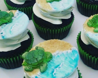 Turtle Fondant Cupcake Toppers, Under the Sea Fondant Cupcake Toppers