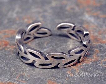 Silver leaf ring Silver 925 adjustable ladies jewelry ladies rings SRI159