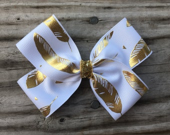 Gold and White Feather Bow