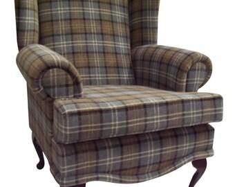 Cottage/Wing Back/QA Chair in Blue Lana Tartan Fabric