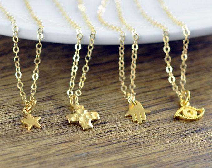 Multi Charm Necklace -  Hamsa Necklace Evil Eye Necklace Star Necklace Cross Necklace Protection Gift Yoga Jewelry Yoga Necklace
