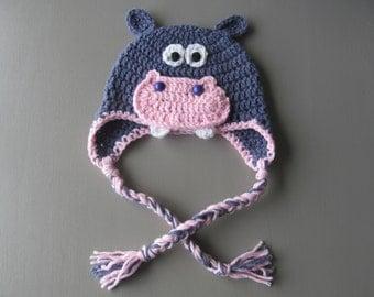 Crocheted Hippo baby hat