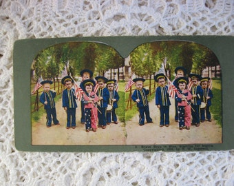 Ingersoll Stereoscope, Stereoview Card, Antique Paper,No. 2 , Brave Boys in Blue, Starting for Manila ,Circa 1890s,Story Card