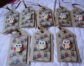 8 RUSTIC OWL TAGS ~ gift tags ~ kraft card and wooden owl button detail
