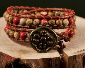 Indila * Natural Mix Multi Leather Wrap Bracelet
