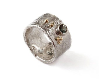Handmade sterling silver reticulated ring with 18ct gold granulation