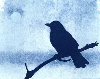 Original Cyanotype print Bye Bye Blackbird bird print