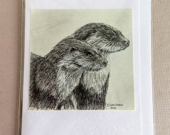 Watchful Otters Greetings Card