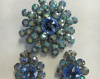 Iridescent Blue Vintage Rhinestone Set
