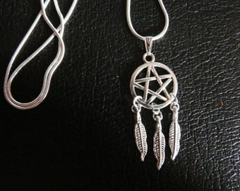 Pentacle And Feathers Necklace