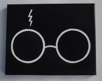 Harry Potter Scar and Glasses Hand Painted Canvas - 8x10 Canvas