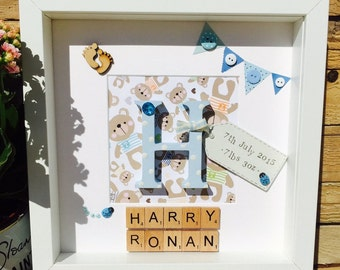 Handmade Personalised Newborn Baby Picture Frame