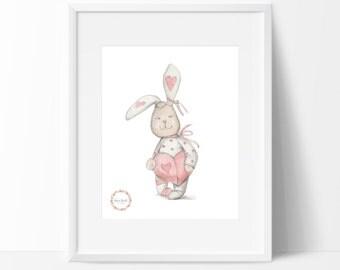 Love Heart Bunny Wall Print_0033WP